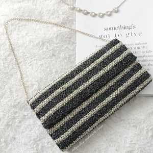 Handbags - Metallic Gold + Black Striped Clutch/Purse